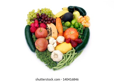 Eat your antioxidants. Heart shape made with  various vegetables and fruits