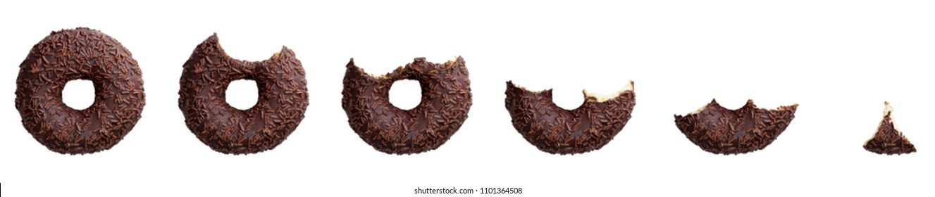 Eaten chocolate donut isolated on white background. Top view.