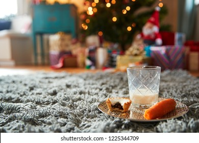 Eaten Mince Pie With Carrot And Glass Of Whiskey Left Out For Santa On Christmas Eve