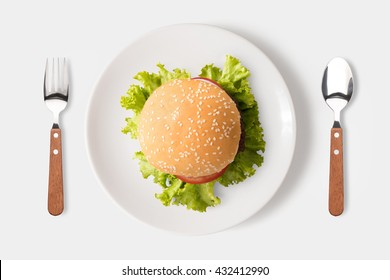 Eating bbq burger on dish isolated on white background. Clipping Path included isolated on white background.