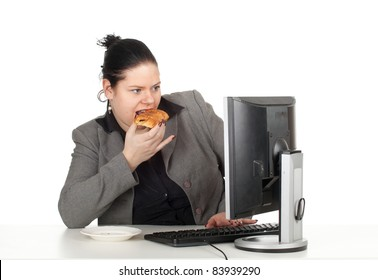 eating cake fat businesswoman and computer, series