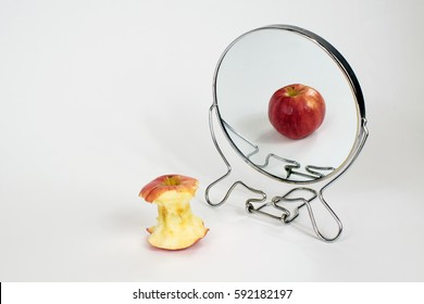 Eating Disorders, Anorexia, Bulimia, Binge Eating, Concept, Apple in Mirror, Our Minds Can Distort Our Mirrors