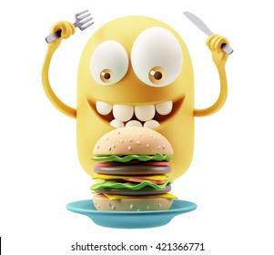 Eating Hamburger Emoticon Face. 3d Rendering.