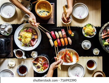 Eating japanese food healthy lifestyle