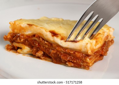 Eating Lasagne Bolognese