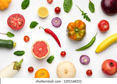 Eating pattern with raw organic food ingredients, fresh fruits and vegetables assortment on white background, top view