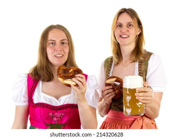 Eating pretzel and drinking beer at oktoberfest