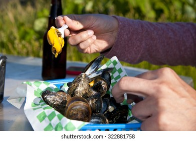 Eating sea food in Nova Scotia, Canada