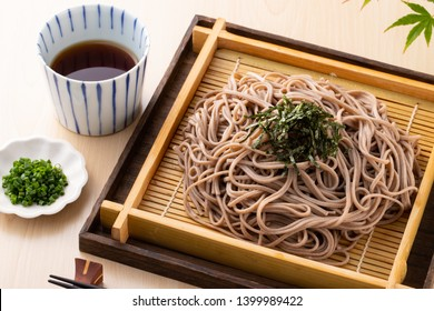 Eating soba noodles at a Japanese soba noodle shop
