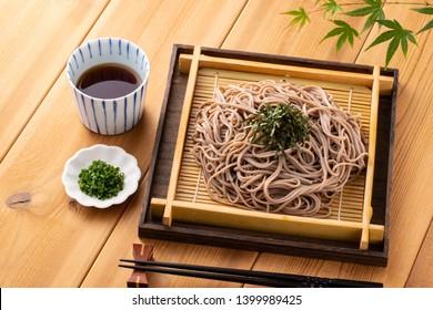 Eating soba noodles at a Japanese soba noodle shop