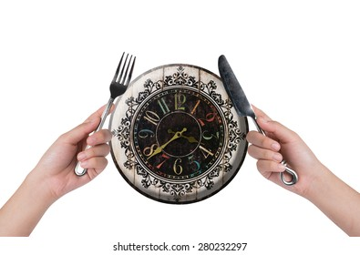 eating time on white background ,lifestyle concept.