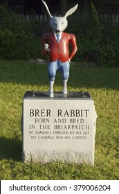 EATONTON, GEORGIA-MAY 14: On May 14, 2015, a Br'er Rabbit statue stands outside the Uncle Remus Museum in Eatonton, Georgia, the hometown of Joel Chandler Harris, author of the Uncle Remus stories.