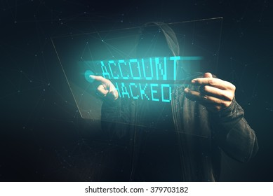 E-bank account hacked, unrecognizable man stealing personal data, internet cyber crime concept.