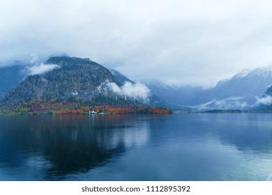 Ebankment of Hallstatt lake at autumn, Salzkammergut area, Austria