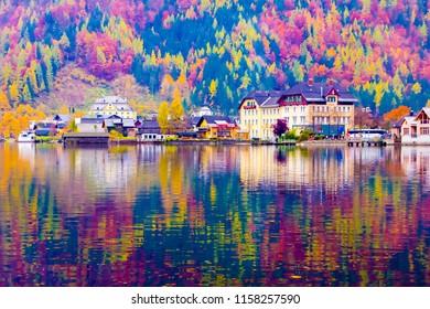 Ebankment of Hallstatt lake reflections at autumn, Unesco, Hallstatt in Austria