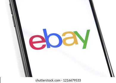 eBay application logo on the screen smartphone. eBay is one of the largest online auction and shopping websites. Moscow, Russia - October 30, 2018