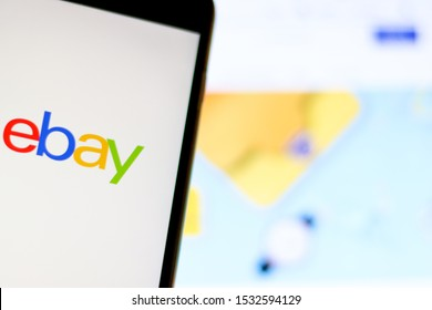 EBAY logo on phone with blurry browser in background. Los Angeles, California, USA - 13 October 2019, Illustrative Editorial