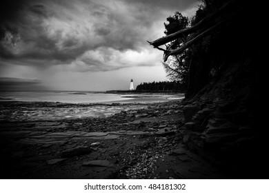 Ebb Tide At Point Prim Lighthouse Prince Edward Island (B/W)