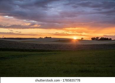 Ebeltoft, Denmark - July 15th 2020: Summer sunset over fields near Ebeltoft