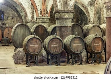 EBERBACH, GERMANY - DEC 29, 2018: old vinery in Eberbach. The Abbey is a former Cistercian monastery near Eltville am Rhein in the Rheingau, Germany.