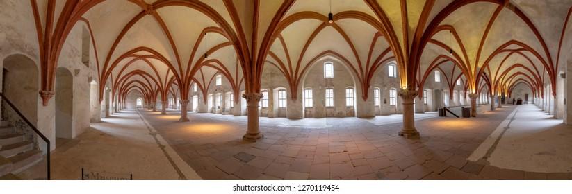 EBERBACH, GERMANY - DEC 29, 2018: Dormitorium in the abbey. Eberbach Abbey is a former Cistercian monastery near Eltville am Rhein in the Rheingau, Germany.