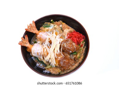 Ebi Katsudon (Japanese deep fried prawn rice bowl) isolated on white background with clipping path