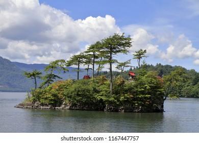Ebisu Daikoku island in Todawa lake, Aomori, Japan