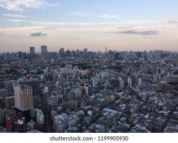 """Ebisu, Tokyo/Japan-September 18th 2018:Tokyo skyline"""