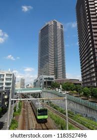 Ebisu Yamanote line and buildings