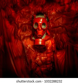 Ebola danger of toxicity, man with red gas mask on plastic of intense color, environmental problem