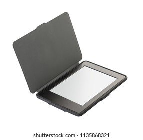 e-book in gray cover on white isolated background