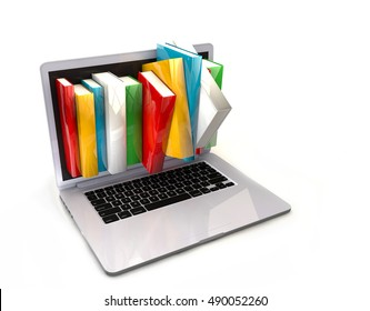 E-book library concept with laptop computer and books
