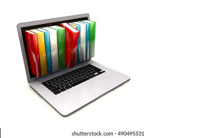 E-book library concept with laptop computer and books. 3d render