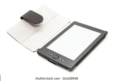E-book reader with leather cover isolated on white background.