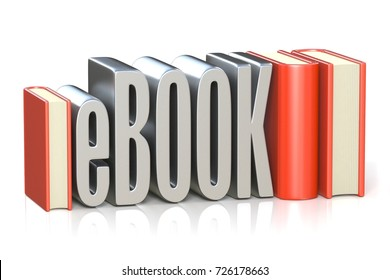 eBOOK red book 3D render illustration isolated on white background
