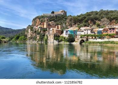 Ebro river and Miravet village in Catalonia, Spain