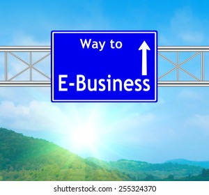E-Business Blue Road Sign concept with resplendent clouds and sky.