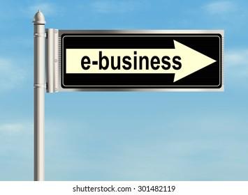 E-business. Road sign on the sky background. Raster illustration.