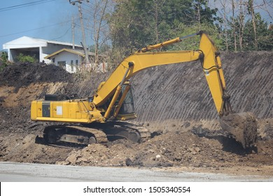 ecavator, bulldozer, construction machinery is working on road projects and building structures