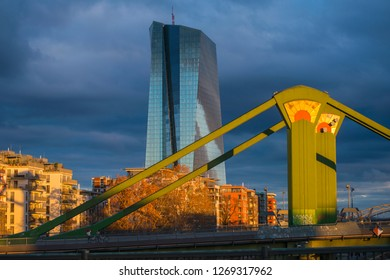 ECB, European Central Bankan and Flosser bridge ,Frankfurt, Germany /December 2018