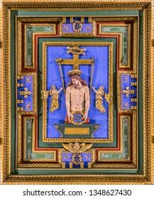 """""""Ecce Homo"""" carved panel in the Church of San Girolamo della Carità in Rome, Italy. March-24-2019"""