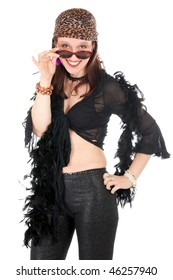 eccentric hippie woman with wearing sunglasses and looking at camera