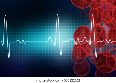 ECG with blood cells. Electrocardiography, medical and healthcare background . 3d illustration