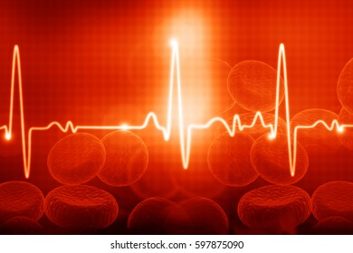 ECG with blood cells. Electrocardiography, medical and healthcare background