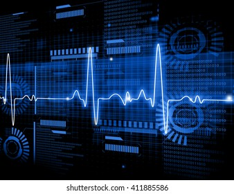 ECG Electrocardiography, medical and healthcare background.
