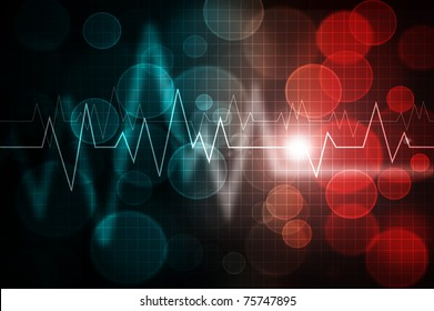 ecg pattern over abstract gradient colorful background