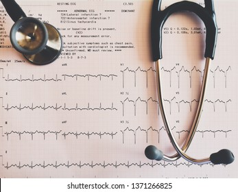 ECG photo effect with stethoscope Placed on the ECG And photos cannot be identified by anyone.