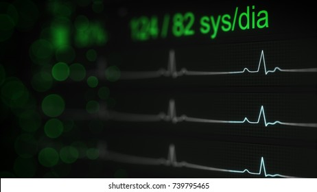 ECG test on monitor. Abstract medical Concept. Computer designed image rendered with DOF
