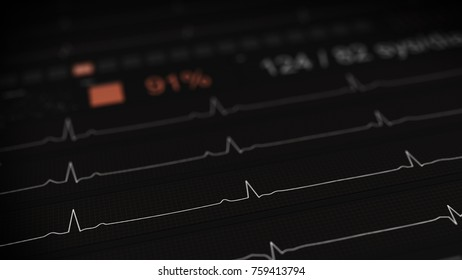 ECG waves on medical monitor. Healthcare concept. Computer generated image rendered with DOF