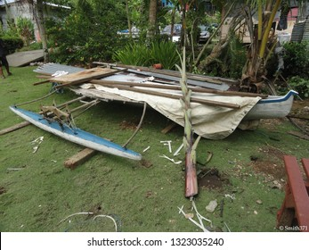 Echang, Palau - July 1, 2018. Old traditional micronesian canoe with outrigger made by Sonsorolese people.